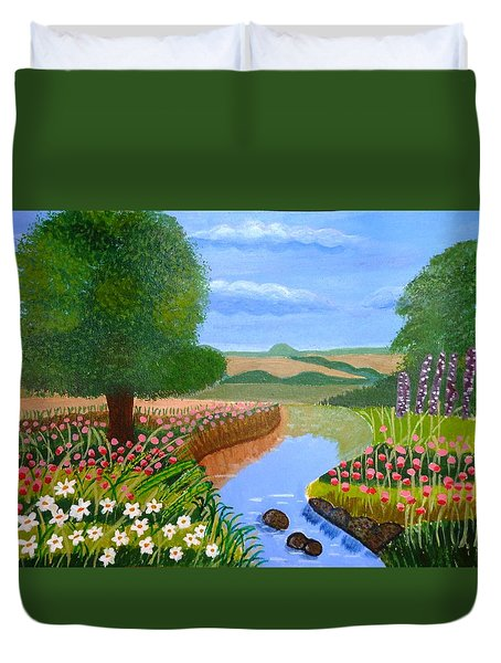 Duvet Cover featuring the painting A Spring Stream by Magdalena Frohnsdorff