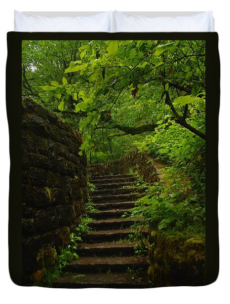 A Stairway To The Green Duvet Cover