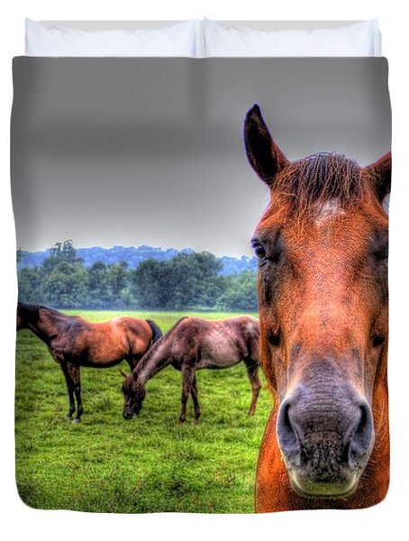 A Starring Horse Duvet Cover by Jonny D