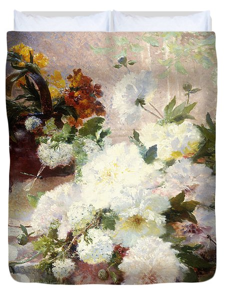 A Still Life With Autumn Flowers Duvet Cover