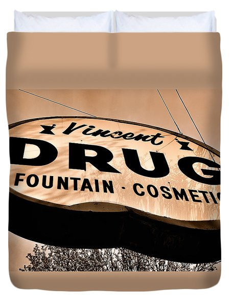 A Store For Everyone - Vintage Pharmacy Sign Duvet Cover