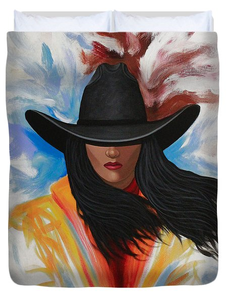 A Stroke Of Cowgirl Duvet Cover by Lance Headlee