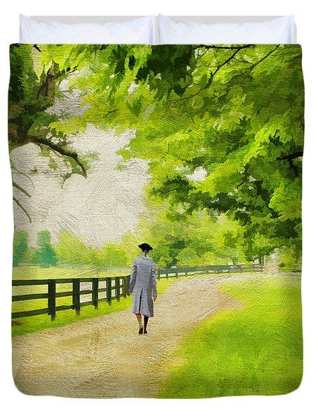 A Stroll Along The Bluegrass Duvet Cover by Darren Fisher