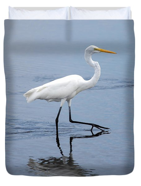 Duvet Cover featuring the photograph A Stroll In The Marsh by John M Bailey