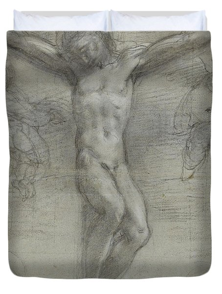A Study Of Christ On The Cross With Two Duvet Cover by Federico Fiori Barocci or Baroccio