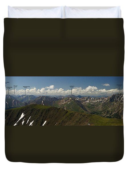 A Summit View Panorama Text Duvet Cover by Jeremy Rhoades