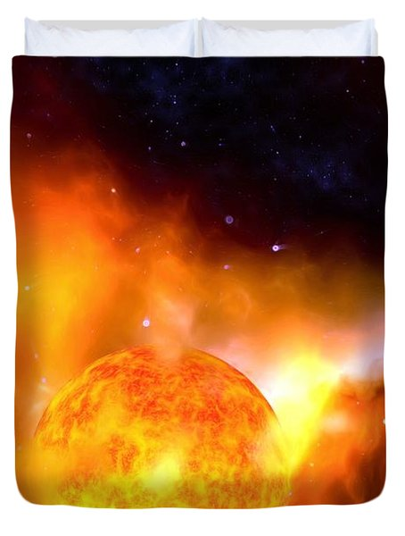 Duvet Cover featuring the painting A Sun Rises by Pet Serrano
