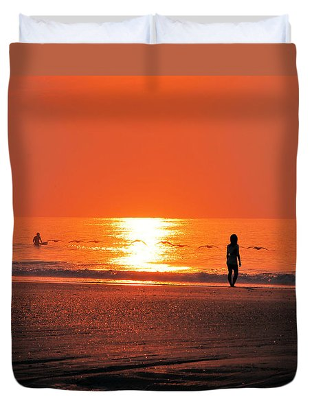 Duvet Cover featuring the photograph A Surfers Sunrise On Wrightsville Beach by Bob Sample