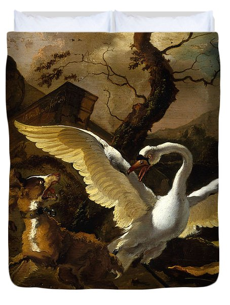A Swan Enraged By Hondius Duvet Cover