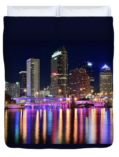 A Tampa Bay Night Duvet Cover by Frozen in Time Fine Art Photography