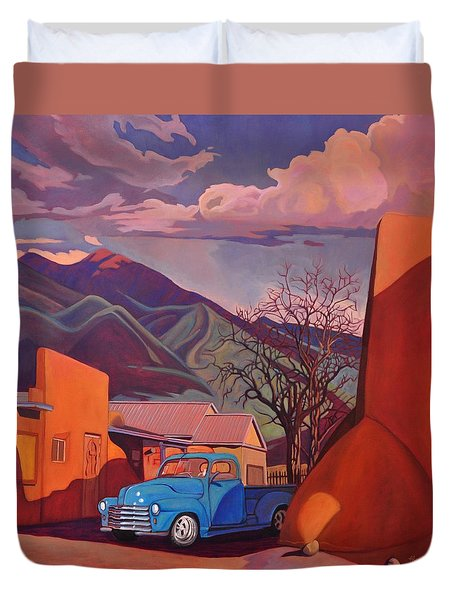 Duvet Cover featuring the painting A Teal Truck In Taos by Art James West