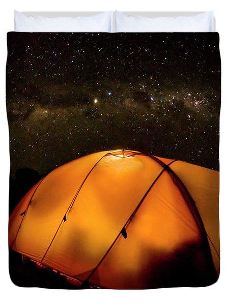 A Tent Illuminates The Night Duvet Cover