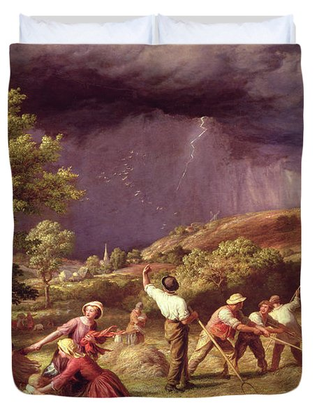 A Thunder Shower, 1859 Duvet Cover by James Thomas Linnell