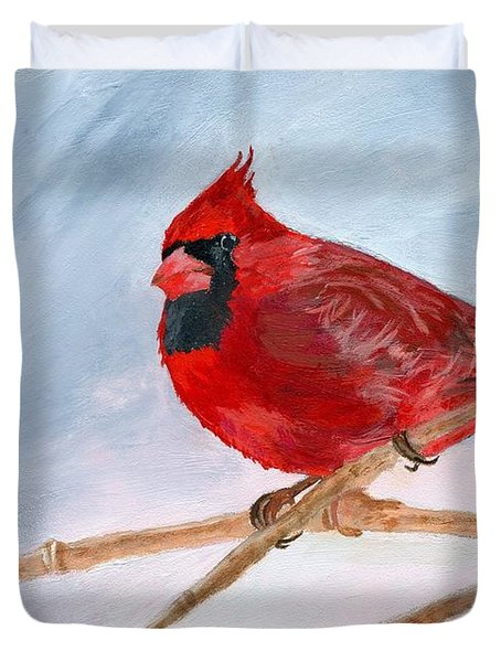 Duvet Cover featuring the painting A Touch Of Red by Lynne Reichhart
