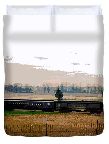 Duvet Cover featuring the photograph A Train Runs Through It by Nina Silver
