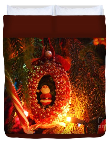 Duvet Cover featuring the photograph A Treasured Santa by Laurie Lundquist
