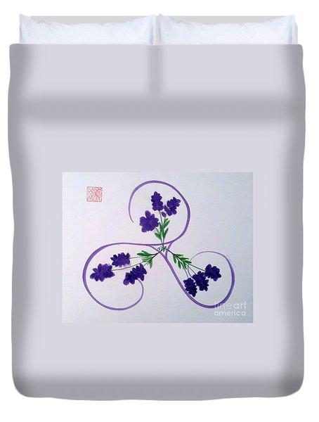 A Triskele Of Lavender Duvet Cover