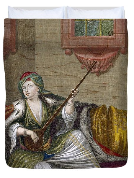 A Turkish Girl Playing The Tehegour Duvet Cover by French School