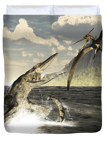 A Tylosaurus Jumps Out Of The Water Duvet Cover
