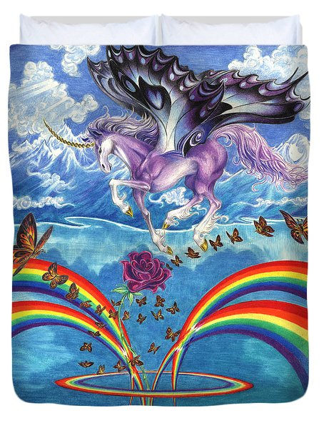 A Unicorn's Love Duvet Cover by Barry Munden
