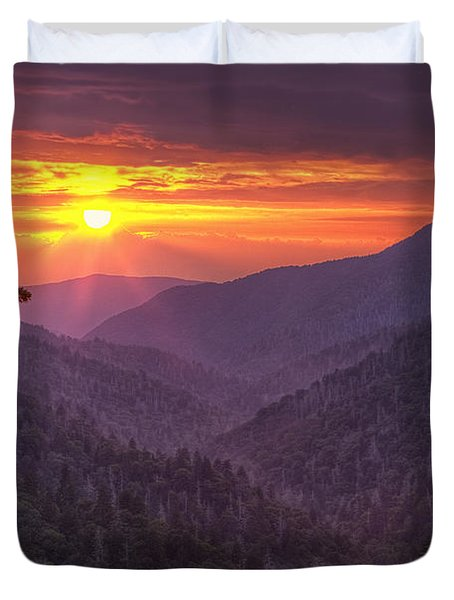 A View At Sunset Duvet Cover