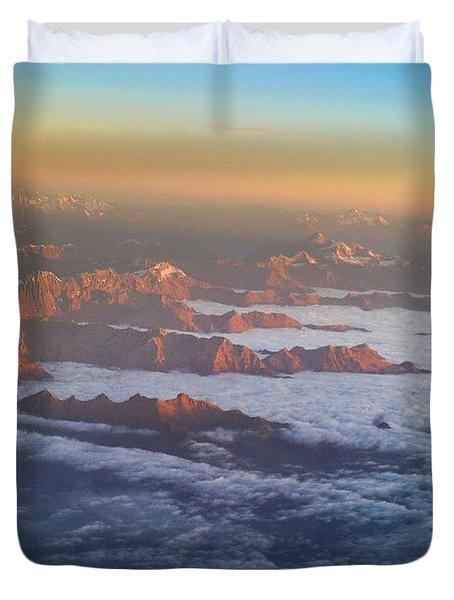Flying Into Milan Duvet Cover
