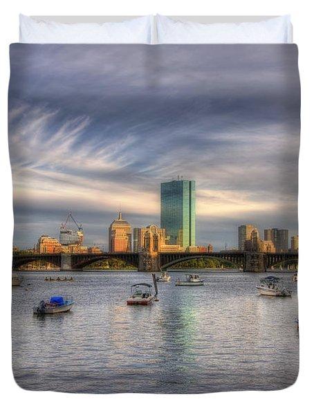 A View Of Back Bay - Boston Skyline Duvet Cover by Joann Vitali