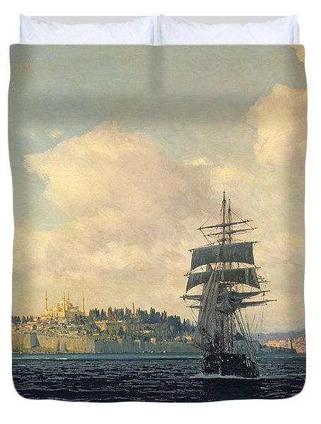 A View Of Constantinople Duvet Cover by Michael Zeno Diemer