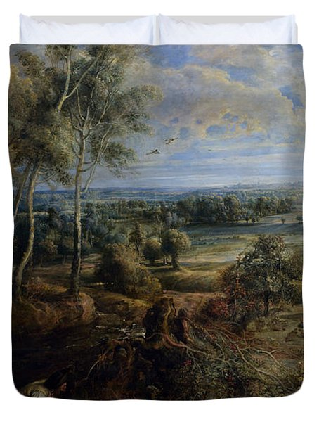 A View Of Het Steen In The Early Morning Duvet Cover by Peter Paul Rubens