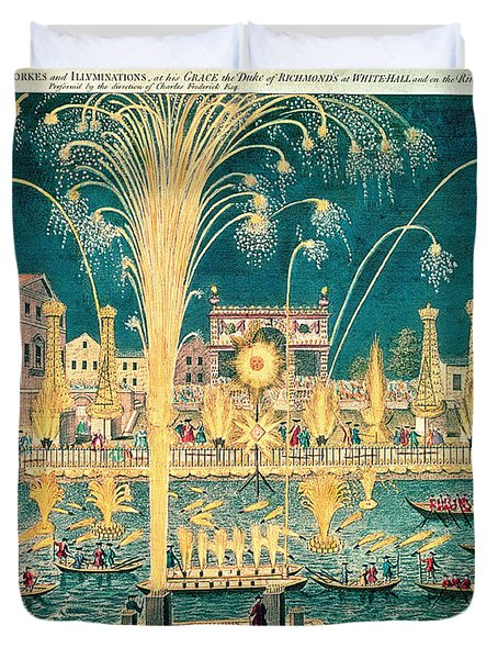 A View Of The Fireworks And Illuminations At His Grace The Duke Of Richmonds At Whitehall Duvet Cover