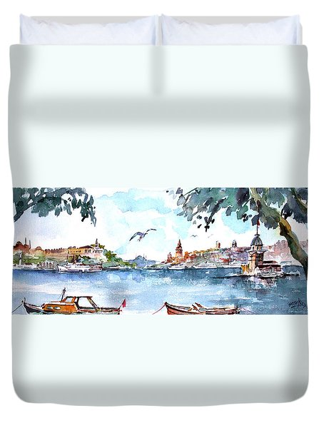 A View Of The Historical Peninsula From Uskudar - Istanbul Duvet Cover