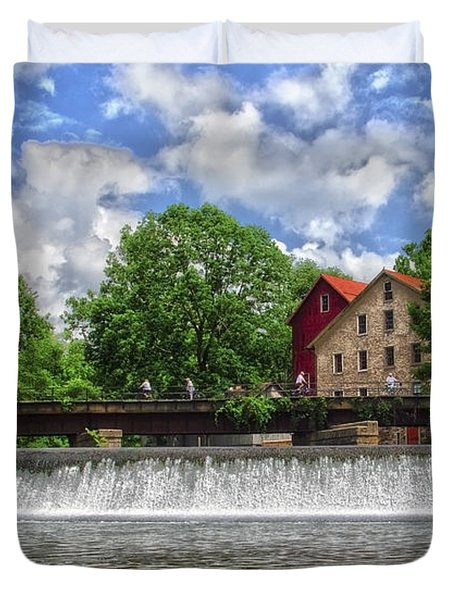 Duvet Cover featuring the photograph A View Of The Mill From The River by Debra Fedchin