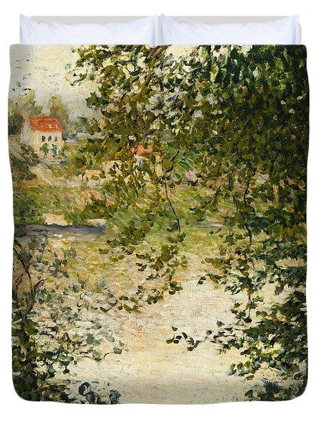 A View Through The Trees Of La Grande Jatte Island Duvet Cover by Claude Monet