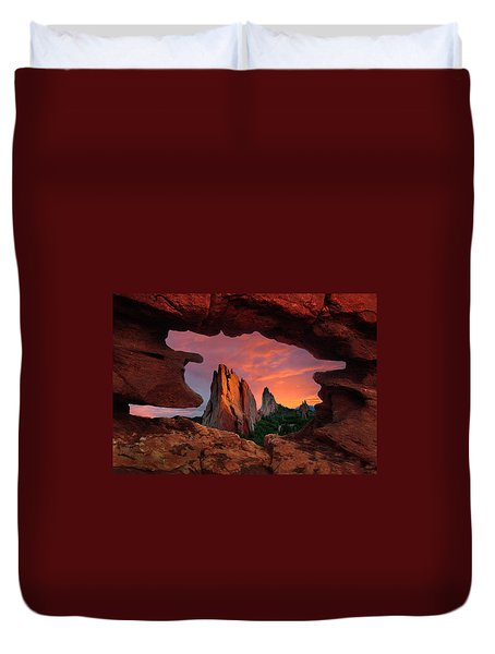 A View Through Window Rock At Siamese Twins Duvet Cover by John Hoffman