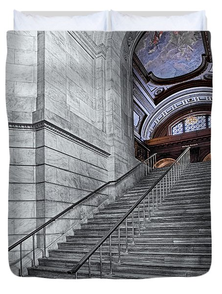 A View To The Mcgraw Rotunda Nypl Duvet Cover by Susan Candelario