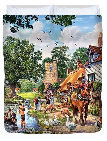 A Village In Summer Duvet Cover