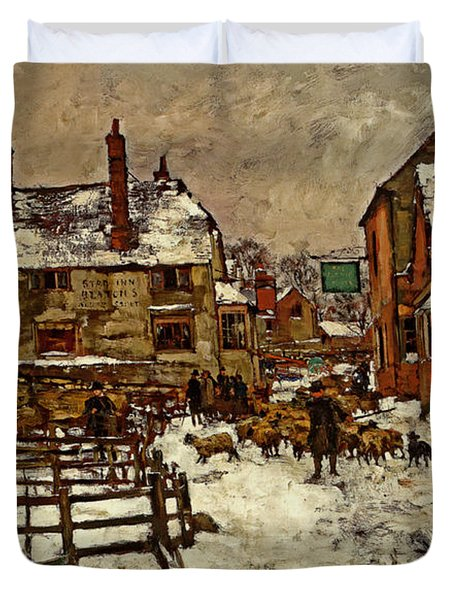 A Village In The Snow Duvet Cover by Henry King