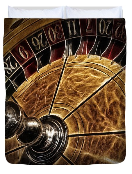 Duvet Cover featuring the photograph A Virginia City Roulette Wheel by Brad Allen Fine Art