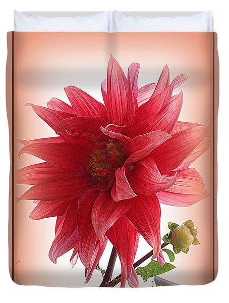 A Vision In  Coral - Dahlia Duvet Cover