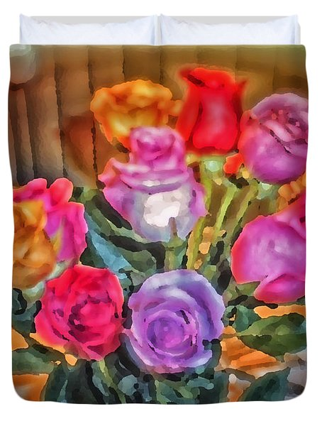 A Vivid Rose Bouquet For You Duvet Cover by Thomas Woolworth