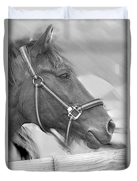 A Waiting Horse Duvet Cover by Eleanor Abramson