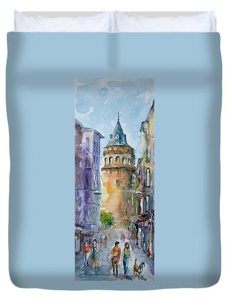 A Walk Around Galata Tower - Istanbul Duvet Cover by Faruk Koksal