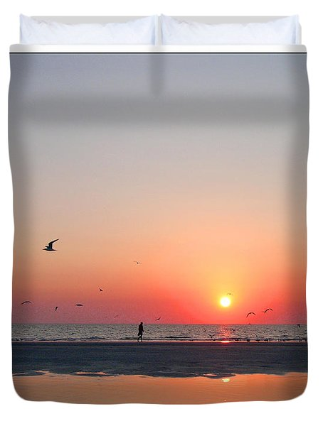 A Walk At Sunset Duvet Cover by Mariarosa Rockefeller
