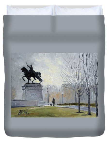 A Walk In Forest Park In St.louis Duvet Cover