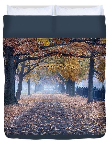 A Walk In Salem Fog Duvet Cover