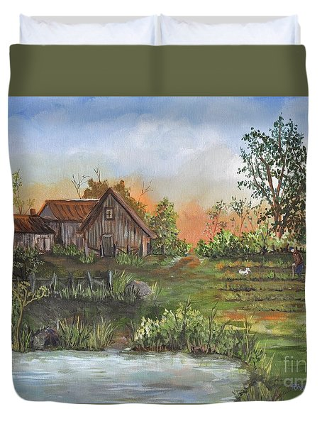 A Walk In The Garden Duvet Cover by Reb Frost