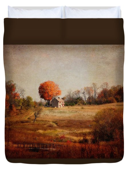 A Walk In The Meadow With Texture Duvet Cover by Trina  Ansel