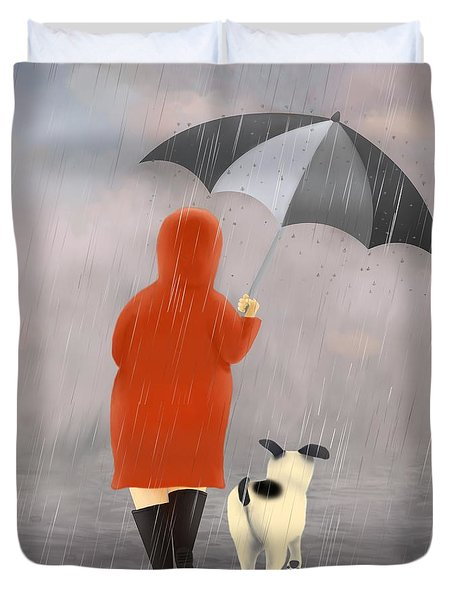 A Walk In The Rain 2 Duvet Cover by Marlene Watson