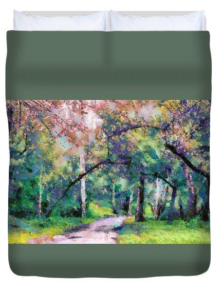 A Walk Inside The Rainbow Forest Duvet Cover