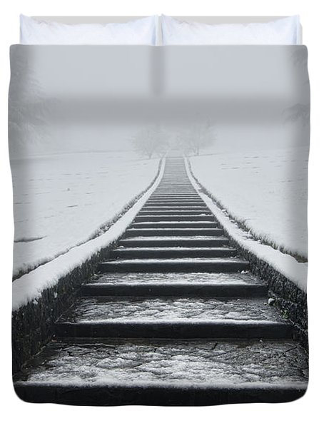 A Walk Into The Fog Duvet Cover by Don Schwartz